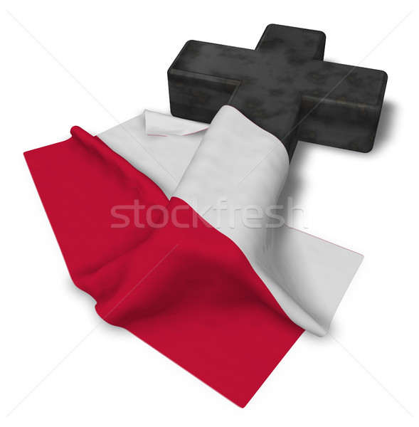 Hristiyan çapraz bayrak Polonya 3D Stok fotoğraf © drizzd