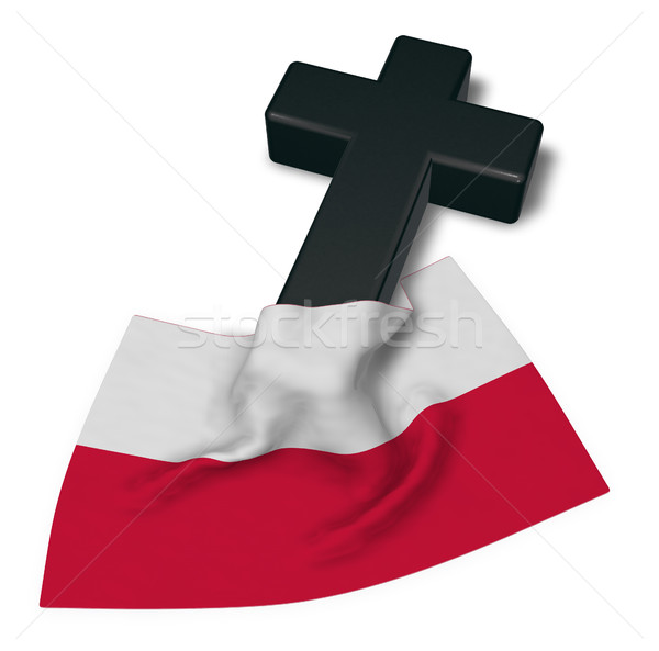 christian cross and flag of poland - 3d rendering Stock photo © drizzd