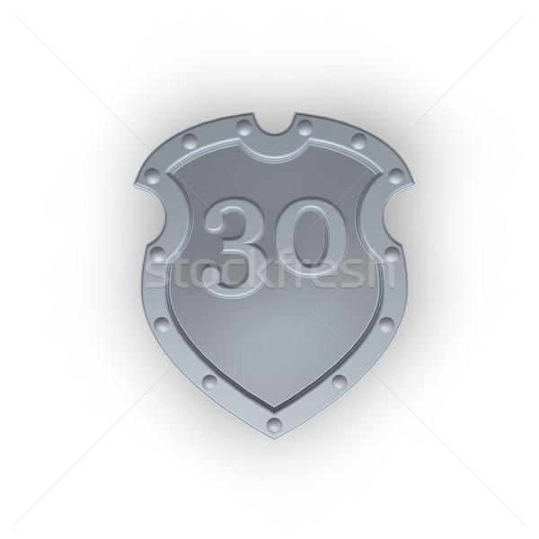 Scudo numero trenta metal 30 bianco Foto d'archivio © drizzd