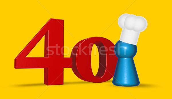 Szám negyven szakács citromsárga 3d illusztráció konyha Stock fotó © drizzd
