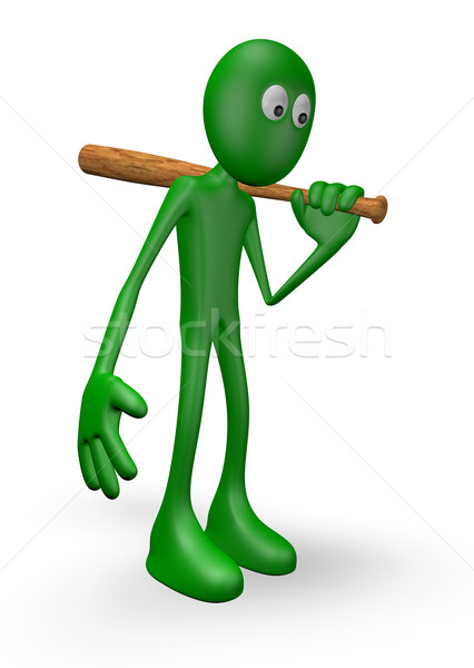 green guy with baseball bat Stock photo © drizzd