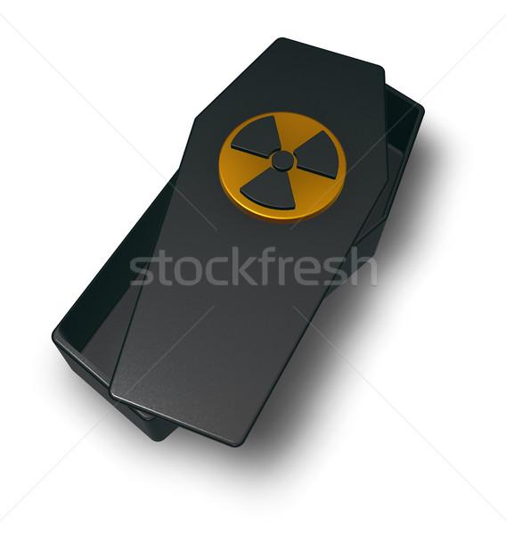 Nuclear caixão símbolo branco ilustração 3d tecnologia Foto stock © drizzd