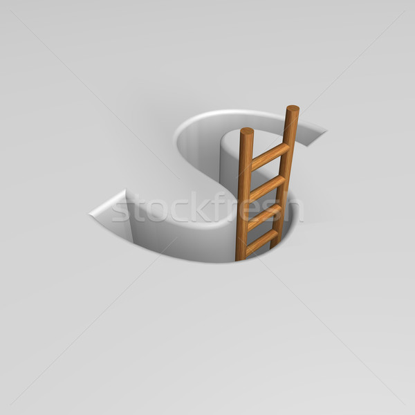 Brief ladder vorm gat 3d illustration carriere Stockfoto © drizzd