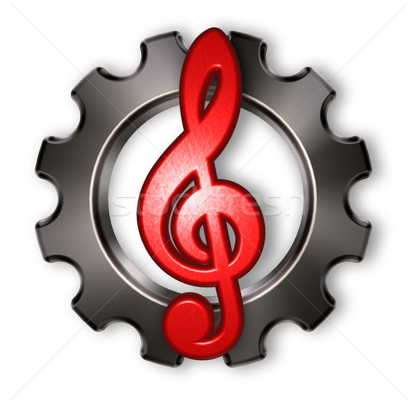 gear wheel and clef on white background - 3d rendering Stock photo © drizzd