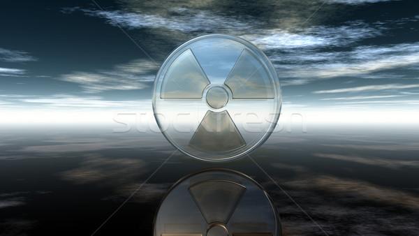 Nuclear símbolo nublado céu ilustração 3d textura Foto stock © drizzd