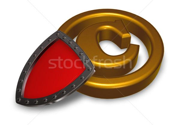 著作権 シンボル シールド 白 3次元の図 ビジネス ストックフォト © drizzd