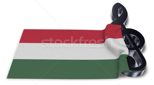 clef symbol symbol and hungarian flag - 3d rendering Stock photo © drizzd