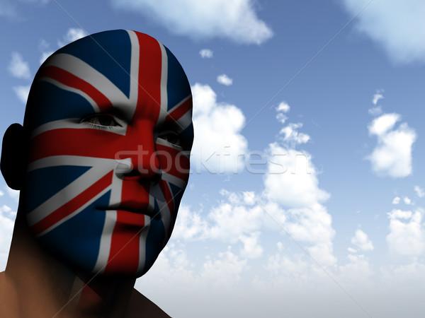Stockfoto: Fan · man · gezicht · geschilderd · union · jack · 3d · illustration
