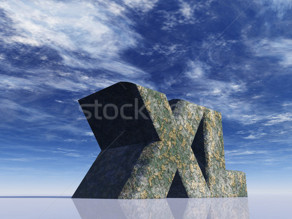 the letters XL rock in front of blue sky - 3d illustration Stock photo © drizzd