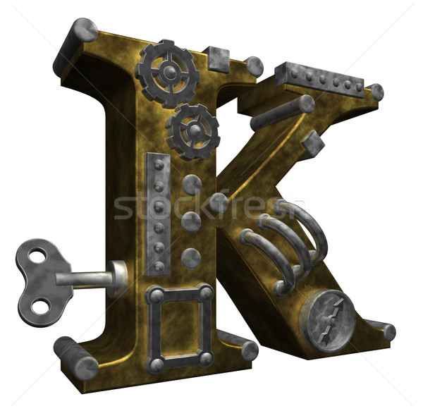 Steampunk lettre blanche 3d illustration métal clé Photo stock © drizzd