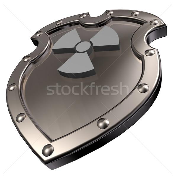 放射性 金属 シールド 核 シンボル 3次元の図 ストックフォト © drizzd