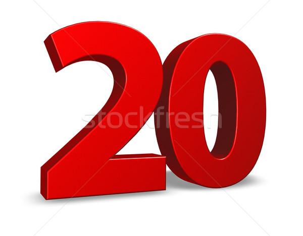 Número vinte vermelho branco ilustração 3d aniversário Foto stock © drizzd