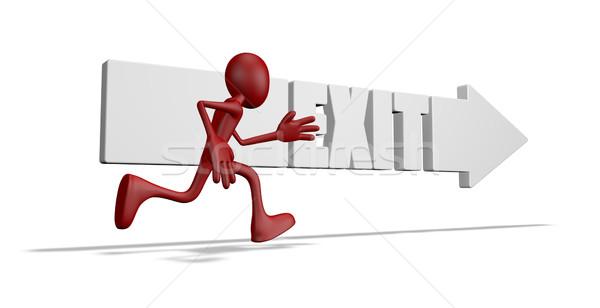 çıkmak ok çalışma karikatür adam 3d illustration Stok fotoğraf © drizzd