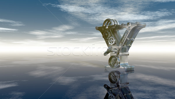 machine letter y under cloudy sky - 3d illustration Stock photo © drizzd