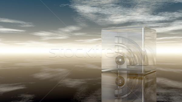 Rss simbolo vetro cubo nuvoloso cielo blu Foto d'archivio © drizzd