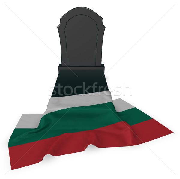 Zdjęcia stock: Nagrobek · banderą · 3D · śmierci · kamień