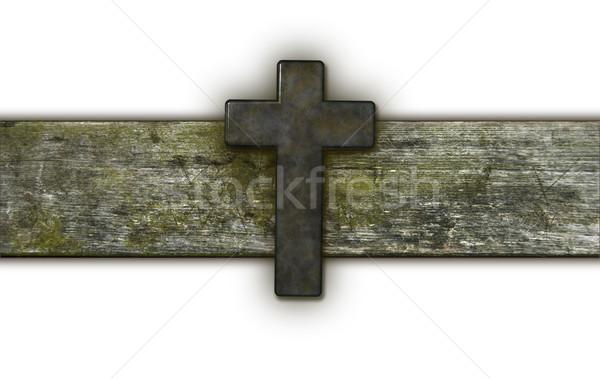 Christian cross vecchio legno illustrazione 3d Foto d'archivio © drizzd
