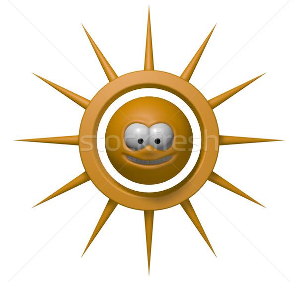 Szeroki uśmiech słońce szczęśliwy cartoon 3d ilustracji twarz Zdjęcia stock © drizzd
