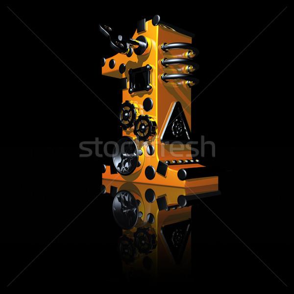 Legelső steampunk fekete 3d illusztráció felirat kulcs Stock fotó © drizzd