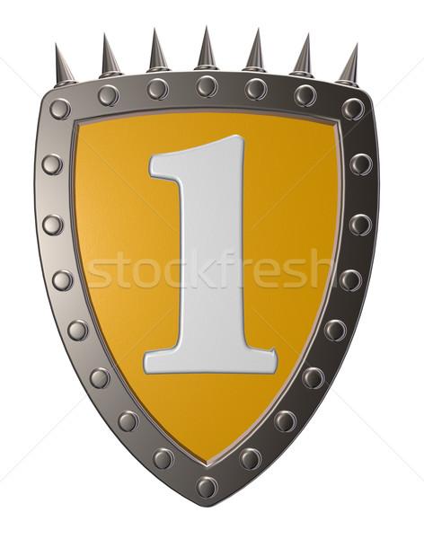 Legelső pajzs fehér 3d illusztráció biztonság felirat Stock fotó © drizzd