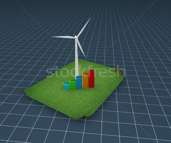 Stockfoto: Wind · energie · windturbine · zakelijke · grafiek · gras · 3d · illustration