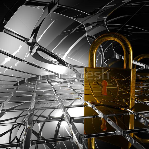 Kłódki streszczenie przestrzeni 3d ilustracji blokady żelaza Zdjęcia stock © drizzd