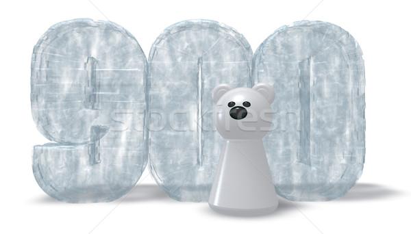 Bevroren aantal negen honderd ijsbeer 3D Stockfoto © drizzd