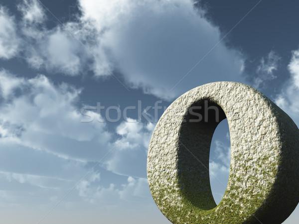 Nagy o betű kő kék ég 3d illusztráció felhők Stock fotó © drizzd