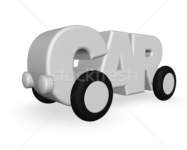 Araba kelime tekerlekler beyaz 3d illustration seyahat Stok fotoğraf © drizzd