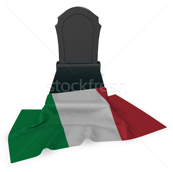 gravestone and flag of italy - 3d rendering Stock photo © drizzd