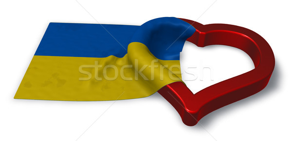 ukrainian flag and heart symbol - 3d rendering Stock photo © drizzd