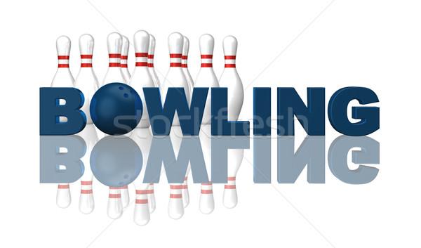 Bowling kelime top beyaz 3d illustration spor Stok fotoğraf © drizzd