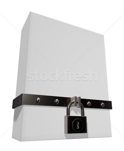 Kutu asma kilit demir bant 3d illustration inşaat Stok fotoğraf © drizzd