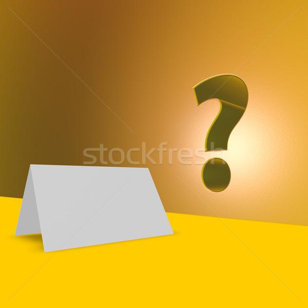 Boş kart soru işareti 3d illustration iş ofis uzay Stok fotoğraf © drizzd