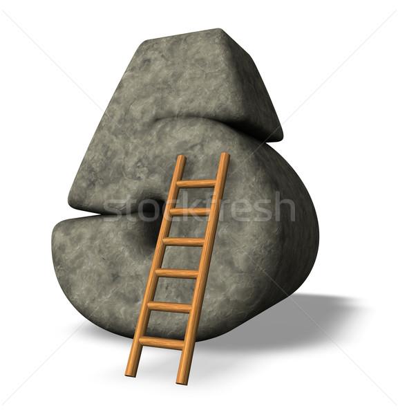 Сток-фото: каменные · числа · пять · лестнице · 3d · иллюстрации · глазах