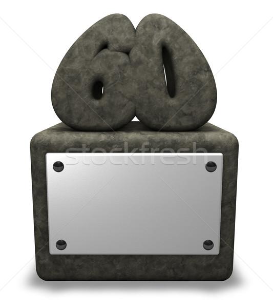 Aantal zestig steen stopcontact 3d illustration verjaardag Stockfoto © drizzd