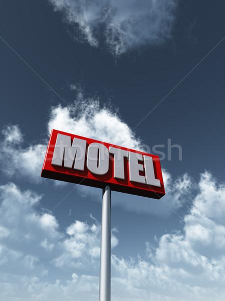мотель знак облачный Blue Sky 3d иллюстрации небе Сток-фото © drizzd