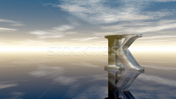 metal uppercase letter k under cloudy sky - 3d rendering Stock photo © drizzd