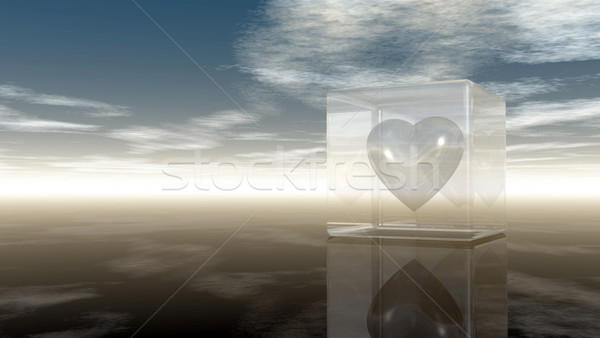 heart symbol in glass cube under cloudy sky - 3d rendering Stock photo © drizzd