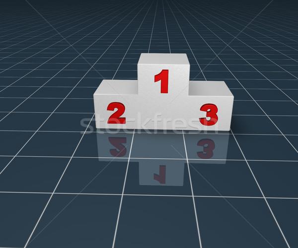 Vincitore podio blu superficie illustrazione 3d sport Foto d'archivio © drizzd