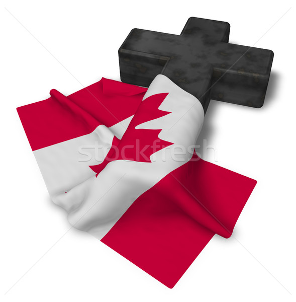 christian cross and flag of canada - 3d rendering Stock photo © drizzd