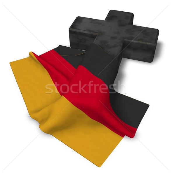 Christian krzyż banderą Niemcy 3D Zdjęcia stock © drizzd