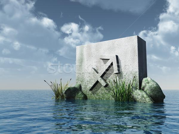лучник каменные символ воды 3d иллюстрации небе Сток-фото © drizzd