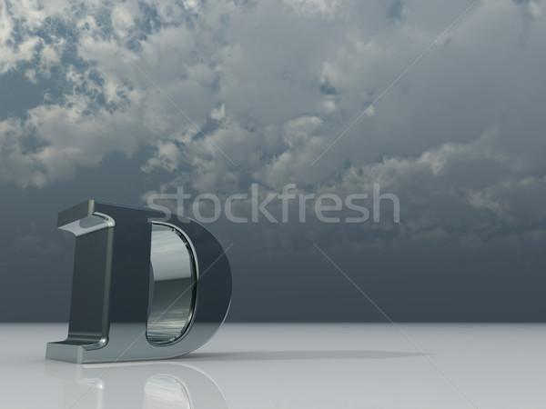 Сток-фото: хром · металл · буква · d · темно · облачный · небе