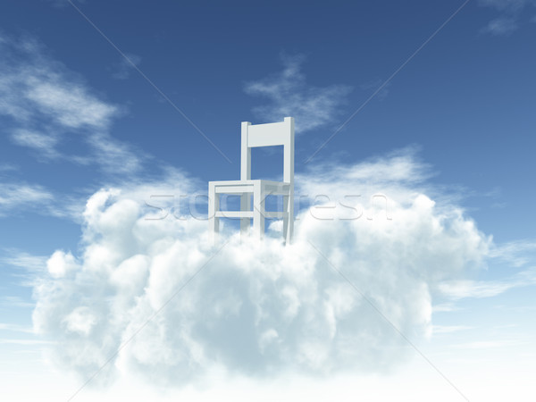 Ciel solitaire président nuages 3d illustration bleu Photo stock © drizzd