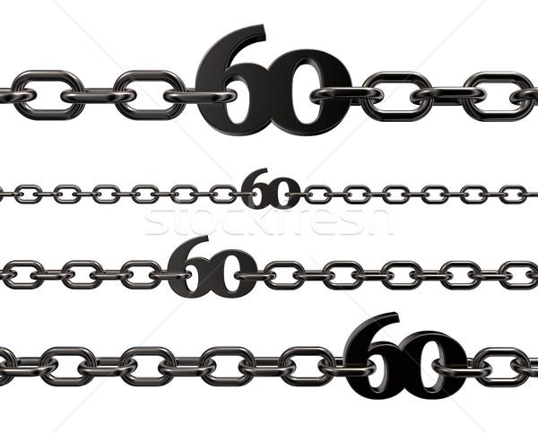 Metal numara altmış zincirleri beyaz 3d illustration Stok fotoğraf © drizzd