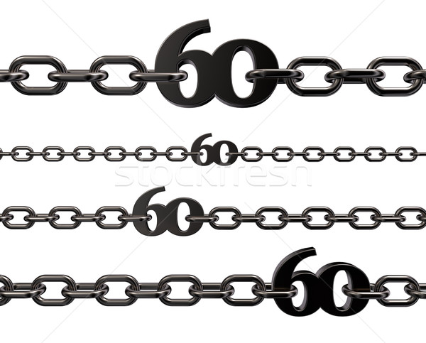 Metaal aantal zestig ketens witte 3d illustration Stockfoto © drizzd