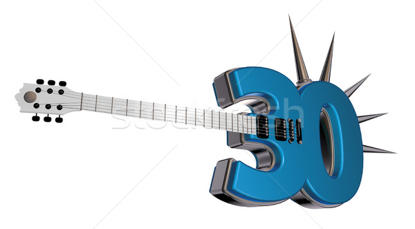 Aantal dertig gitaar witte 3d illustration metaal Stockfoto © drizzd