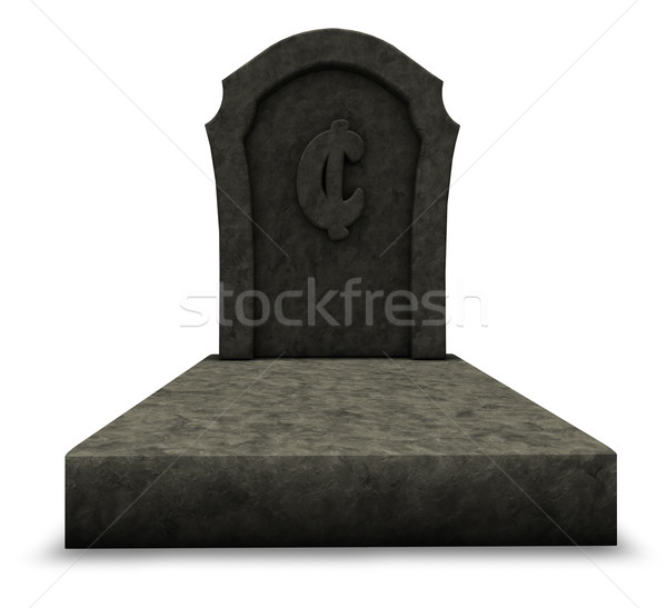 Martwych cent nagrobek symbol biały 3d ilustracji Zdjęcia stock © drizzd