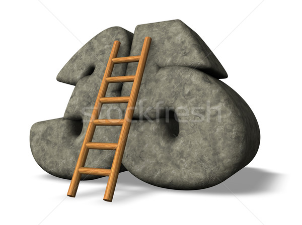 Numara otuz beş merdiven taş 3d illustration Stok fotoğraf © drizzd